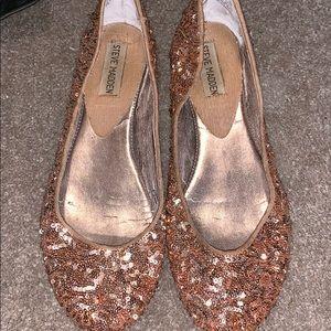 Steve Madden rose gold sequin flat loafer slip on